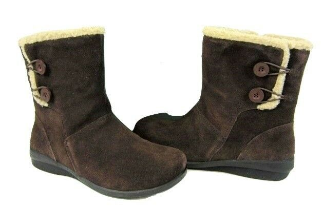 Clarks Anna Curly fur boots ankle tan brown suede leather fur Curly lined sz 5.5 Med NEW 57fd71