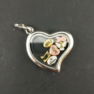 In memory of Mum SET of 2 silvertone hearts floating charm fits living memory lockets