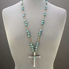 Long Rope Turquoise Stone Ball Beads Necklace Silver Cross Pendant
