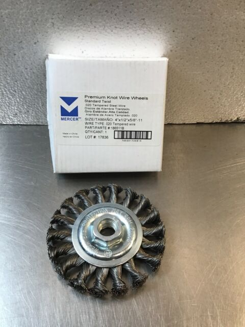 4 x 1//2 x 5//8-11 Mercer Industries 186510B Knot Wire Wheel For Angle Grinders 4 x 1//2 x 5//8-11