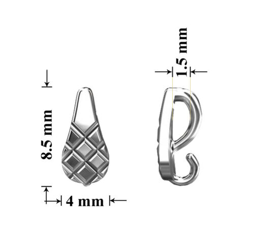 Sterling Silver Open Loop Slide Bails without Clip 8.5x4mm Jewellery Findings