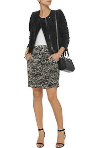 Isabel-Marant-Black-Eitan-Printed-Chiffon-and-Burnouteffect-Velvet-Skirt-size-40