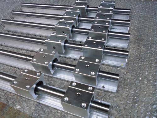 2 SBR12-1400//880//380 MM SUPPORTED LINEAR RAIL SHAFT+ 12 SBR12UU Rounter Bearing