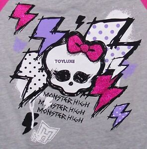Monster-High-SKULL-Girls-Skullette-Jersey-Baseball-T-Shirt-Tee-Top-Costume-NWT