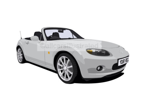 PERSONALISE IT! MAZDA MX5 MK3 CAR ART PRINT PICTURE SIZE A4