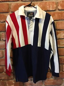 LANDS-END-Red-White-amp-Blue-STRIPED-L-S-RUGBY-POLO-SHIRT-Size-Youth-XL