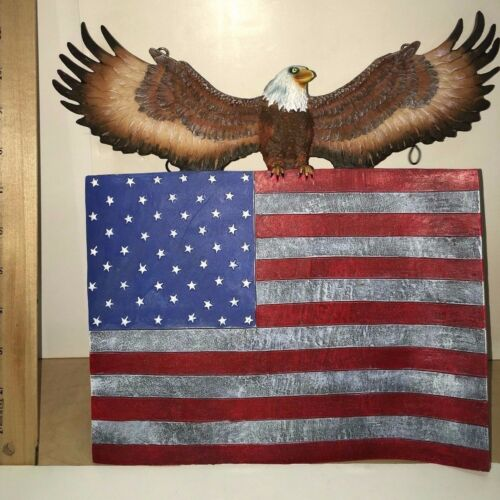 American Flag American Eagle Wall Hanging Plaque