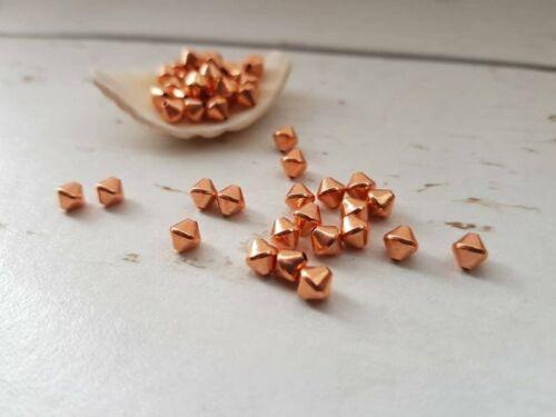 Cuentas de cobre sólido 5mmPaquete de 25cosidas Bi-Cono Espaciador granos