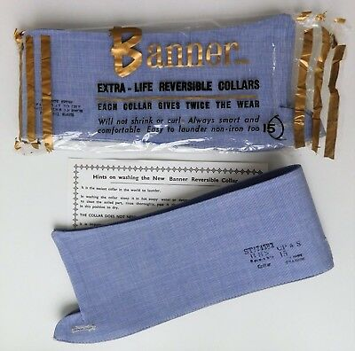 Pair of Banner reversible blue shirt collars size 15 vintage 1960s UNUSED