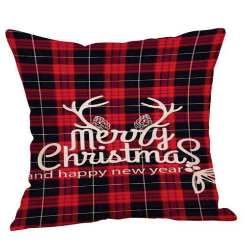 18/'/' Merry Christmas Pillow Case Sofa Xmas Plaid Throw Cover Cushion Decorative