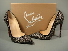 Louboutin Black Patent Silver Glitter so Pretty Point Toe PUMPS HEELS 35.5/5