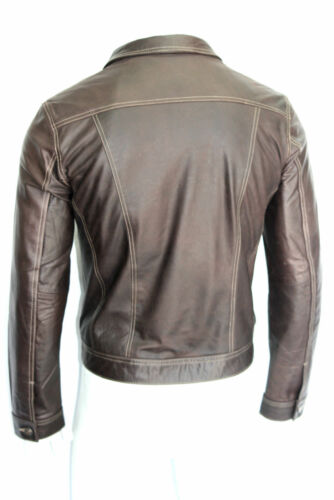 New Winston Men/'s Classic Western Trucker Style Brown Skipper Leather Jacket