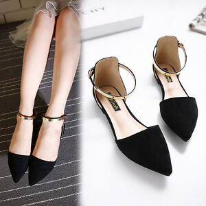 2018 Women's Pointed Toe Ankle Strap Shoes Ballet Flats Spring Casual Sandals