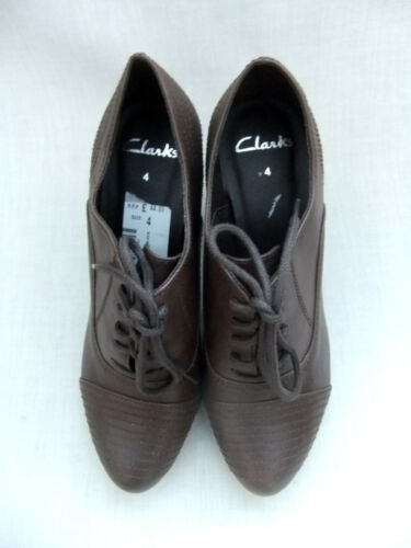 NEW CLARKS ABACUS WOMENS BROWN LACE-UP PLATFORM SHOES