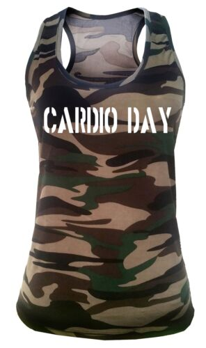 Junior/'s Cardio Day Camo Tank top Workout Fitness Exercise Yoga Gym T Shirt V177