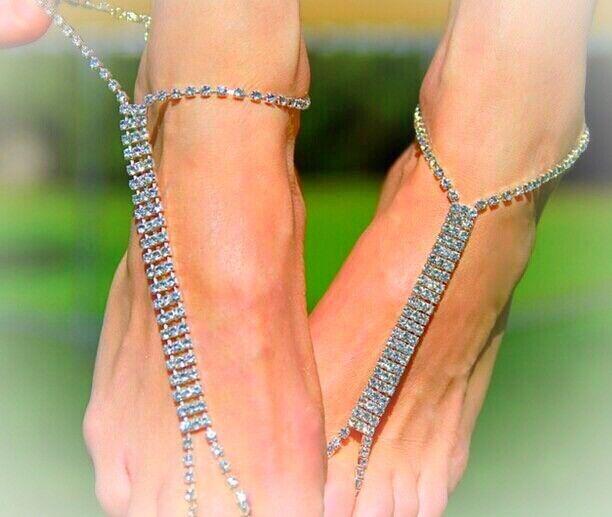 Crystal Rhinestone Barefoot Bridal Sandals SET OF 2 Foot Adjustable Silver