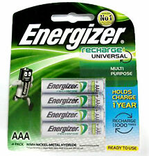 4x Energizer Rechargeable AAA NiMH 700 mAh Recharge Universal Battery NEW