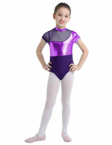 Girls Metallic Mesh Ballet Dance Leotards Kids Gymnastics Bodysuit Show Costumes