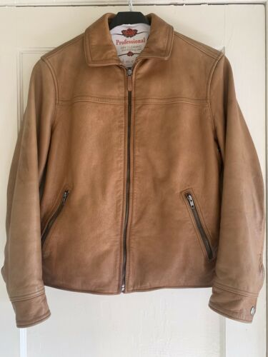 COACH Bomber Saddle Brown Leather Jacket Mens Moto
