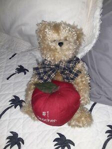 Boyds-Stuffed-Plush-Thinkin-039-Of-Ya-Bestest-1-Teacher-Teddy-Bear-amp-Apple