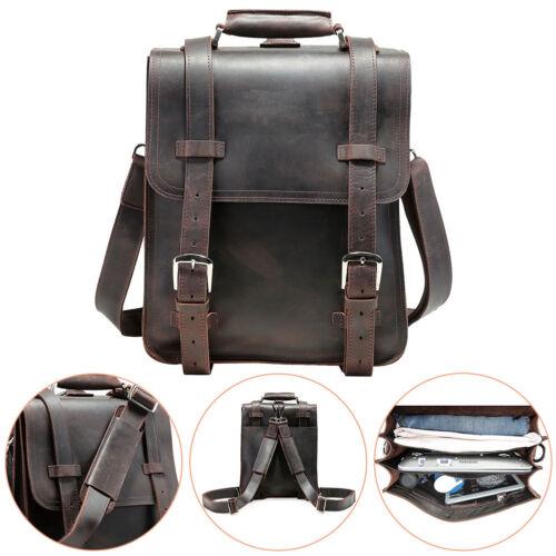 Hiking Thick Bull Leather Mens 14 Laptop Briefcase Backpack Shoulder Travel Bag