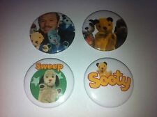 4 Sooty Sue Sweep button badges 25mm cult retro 80s 90s kids TV UK USA