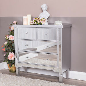 Mirrored-Silver-Chest-of-Drawers-Glass-Hallway-Cabinet-Bedroom-Home-Furniture
