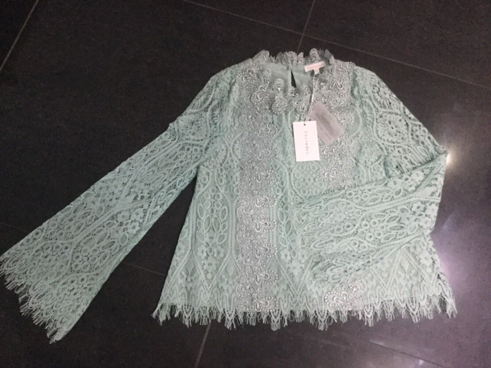 NWT Foxiedox New Ladies Small  10 Mint Green Cotton Lace Long Sleeved Top
