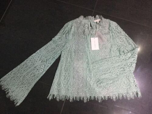 Lace Small New Top Sleeved 10 Long Foxiedox Ladies Cotton Green Mint Uk Nwt 8 twv65q5