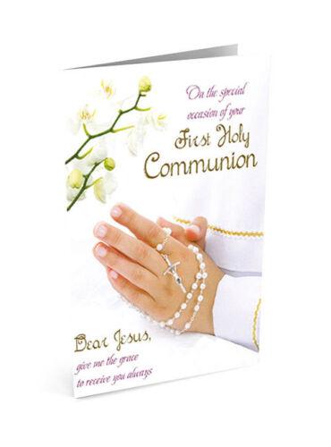 Première Sainte Communion Carte de vœux priant mains blanc avec chapelet