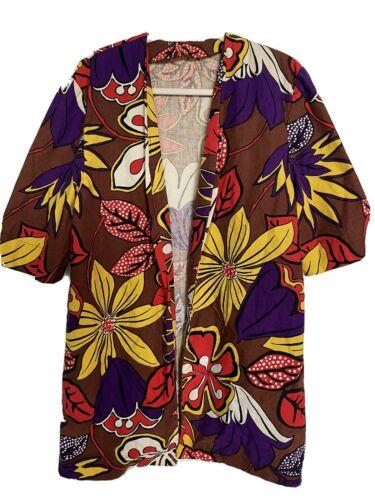 Barkcloth Women's  Long Jacket Floral Hawaiian Smo