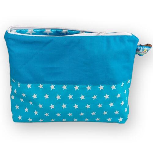 Wickeltasche mit Wickelunterlage saugstark Blau Sterne für Unterwegs Reise Baby