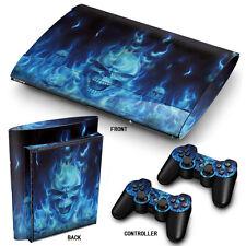 Ps3 Superslim Playstation 3 Skin Pegatinas Pvc Para Consola Y 2 Cojines De Fuego Azul