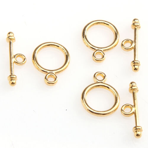 wholesale 30 Sets Tibetan Silver Round Toggle Clasp Jewelry Making Findings
