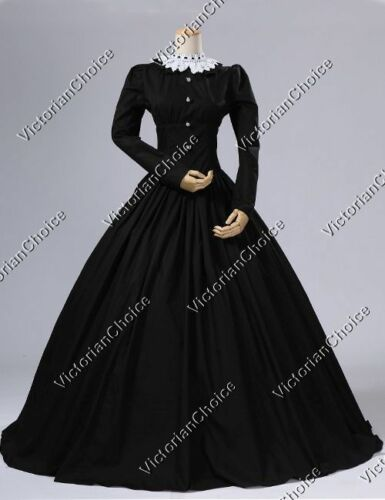 Victorian Plus Size Dresses | Edwardian Clothing, Costumes    Victorian Maid Steampunk Black Dress Theater Reenactment Cosplay Ball Gown 316  AT vintagedancer.com