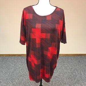 Lularoe-WOMEN-039-S-Multi-Colore-Nero-Rosso-Stampa-Geometrica-Tunica-Top-Camicia-Taglia-S