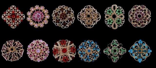 3 pcs Mixed Mini Colorful Rhinestone Crystal Brooch Pin Wedding Bouquet OZ STOCK
