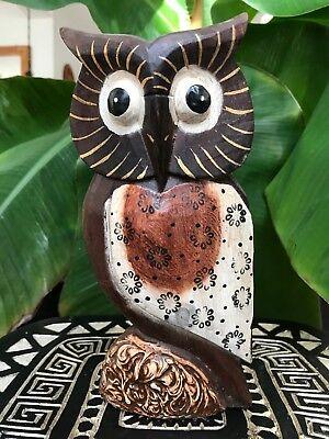 Chouette hibou de collection en bois et coquille d/'oeuf déco ethnique 15 cm