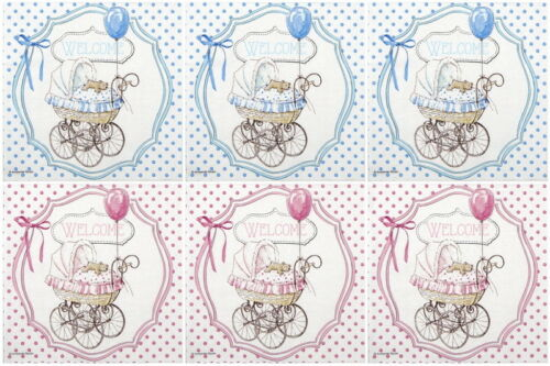 6x Cocktail 25x25cm Paper Napkins for Decoupage Party Craft  Welcome Baby Mix