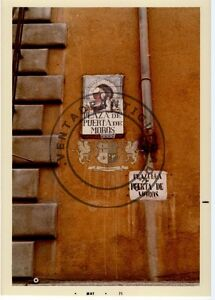 FOTO-ANTIGUA-PLAZA-CON-CARTEL-ANTIGUO-PLAZUELA-DE-PUERTA-DE-MOROS-MADRID-1971