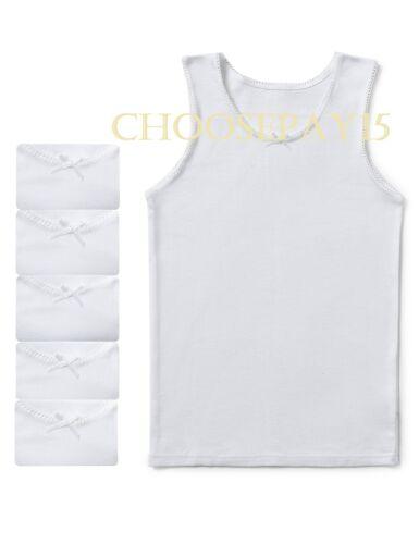 Girls Children Kids Vest 100/% Soft Cotton White Sleeveless Underwear Lace Trim