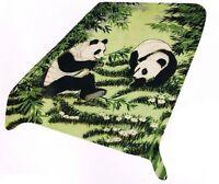Panda Blanket Throw Soft Mink Plush Twin Size Korean Style Bear Family