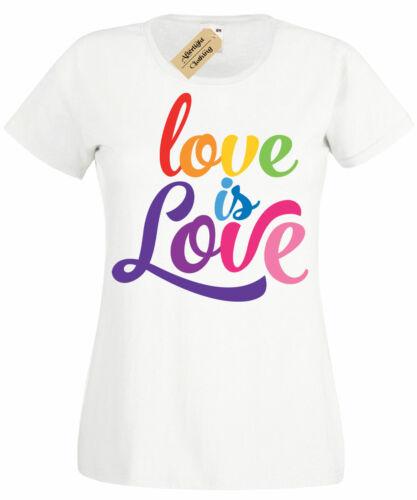 Love Ist Liebe T-Shirt Lgbtq Pride Schwul Bi Lesbisch Rechte Regenbogen Damen