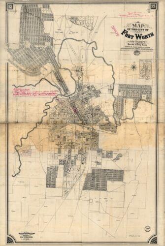 A4 Nachdruck von Amerikanische Städte States Karte Fort Worth Tarrant Texas