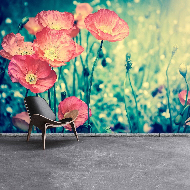 Fototapete Selbstklebend Einfach ablösbar Mehrfach klebbar Mohnblumen Vintage