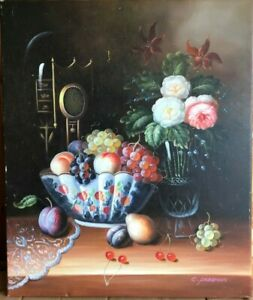 """""""Still Time"""" Oil Painting Still Life Signed by C Freeman 24"""" x 20"""""""