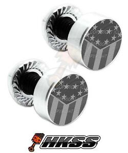 2 Silver Billet Aluminum License Plate Frame Tag Bolts - GHOST USA FLAG XSI