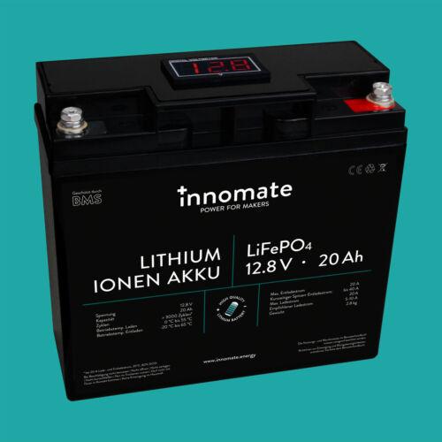 LiFePO4 Akku 20Ah 12V Lithium Speicher mit BMS Batterie Solar Wohnmobil Boot
