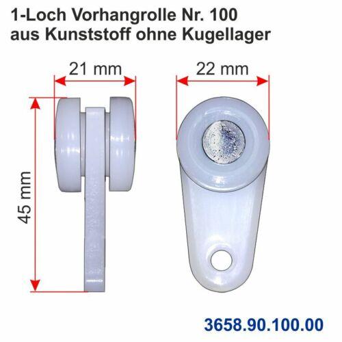 1-Loch Vorhangrolle für Profil Nr.13 45 100 stahl verzinkt kunststoff