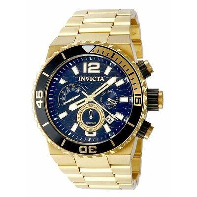 Invicta 80245 Men's Pro Diver Blue Dial Black Bezel Chrono Gold Tone Steel Watch